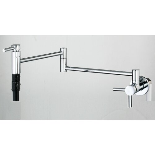 Double Handle Wall Mount Pot Filler Faucet with Metal Lever Handle