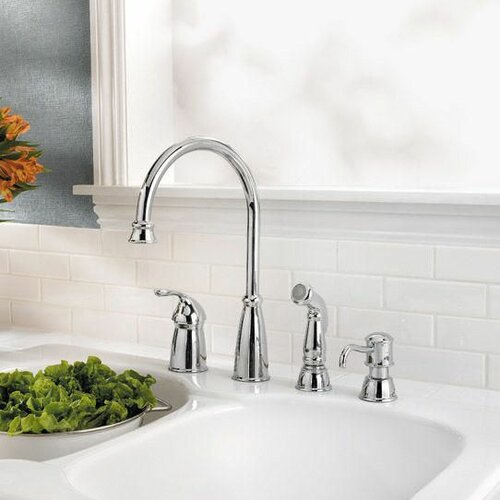 Pfister Avalon Single Handle Widespread Kitchen Faucet with Soap / Lotion Dispenser and Side Spray