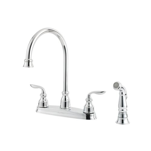 Price Pfister Avalon Two Handle Centerset High Arc Kitchen Faucet with Matching Side Spray