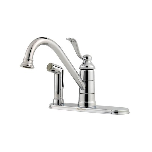 Portland One Handle Centerset Kitchen Faucet with Deck Plate and Single Post Mounting Ring