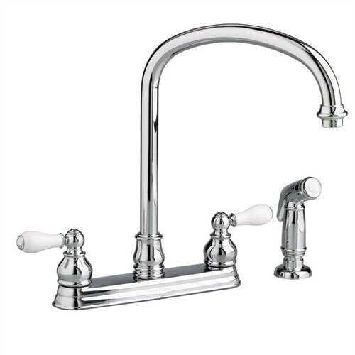 American Standard Hampton Two Handle Centerset Top-Mount kitchenFaucet with Side Spray and Porcelain Cross Handles