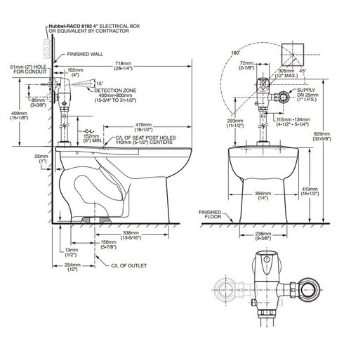 American Standard Afwall System Selectronic Exposed AC Flush Valve Elongated 1 Piece Toilet