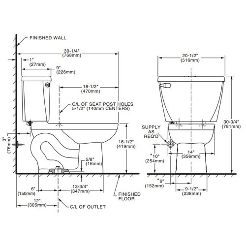 American Standard Cadet Right Height 1.1 GPF Elongated 2 Piece Toilet with Bedpan Slots Combo