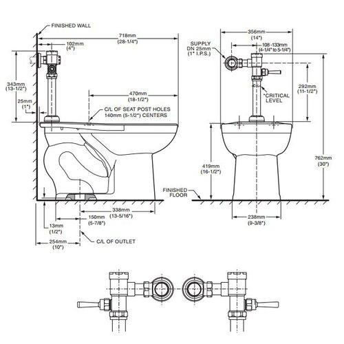 American Standard Manual Top Spud Flush Valve Elongated 1 Piece Toilet