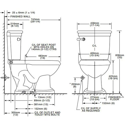 American Standard Standard Right Height 1.6 GPF Elongated 2 Piece Toilet
