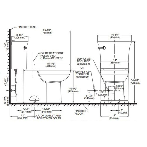 American Standard Tropic FloWise RH 1.28 GPF Elongated 1 Piece Toilet