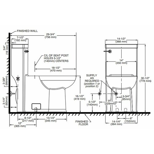 American Standard Boulevard Flowise Right Height 1.28 GPF Elongated 1 Piece Toilet
