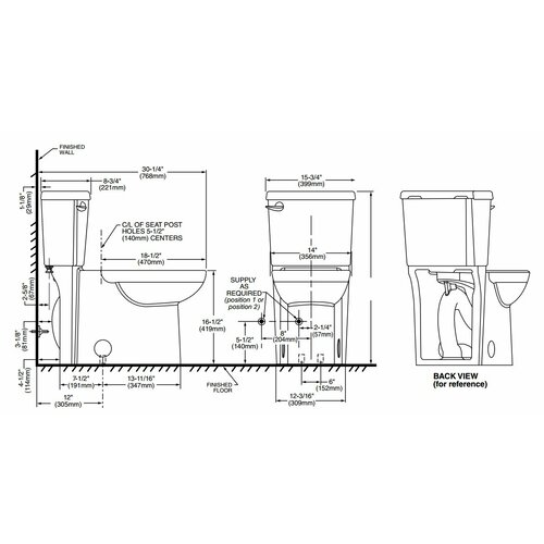 Cadet Concealed Trapway 3 Right Height Elongated Toilet