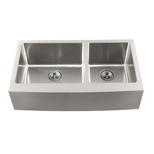 "Schon 34"" x 18.5"" Double Bowl Farmhouse Kitchen Sink"