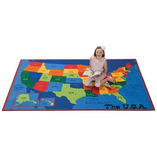 Carpets for Kids Printed USA Learn and Play Area Rug