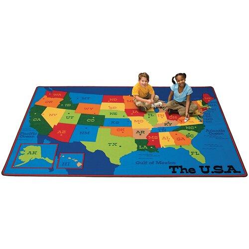 Carpets for Kids Printed USA Learn and Play Kids Rug