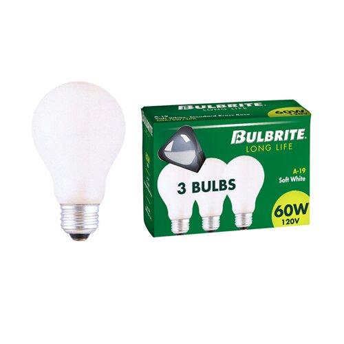 Bulbrite Industries 60W 120-Volt (2700K) Incandescent Light Bulb (Pack of 3)