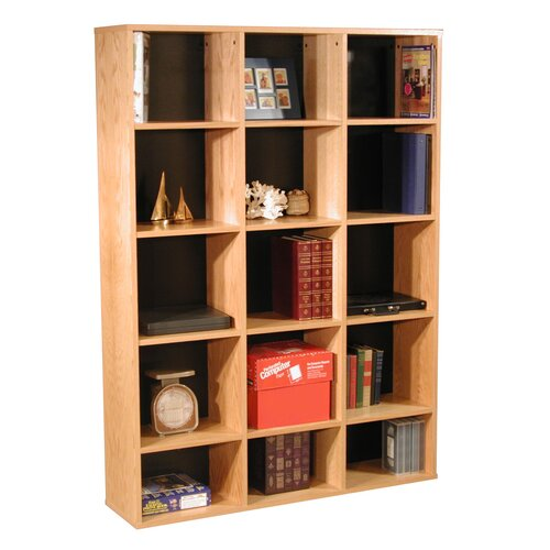 "Rush Furniture Modular Real Oak Wood Veneer Furniture 65.5"" Bookcase"