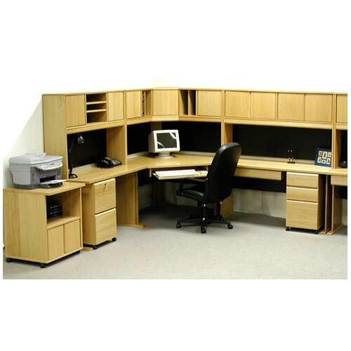Rush Furniture Office Modulars Corner Desk Office Suite with Machine Cart