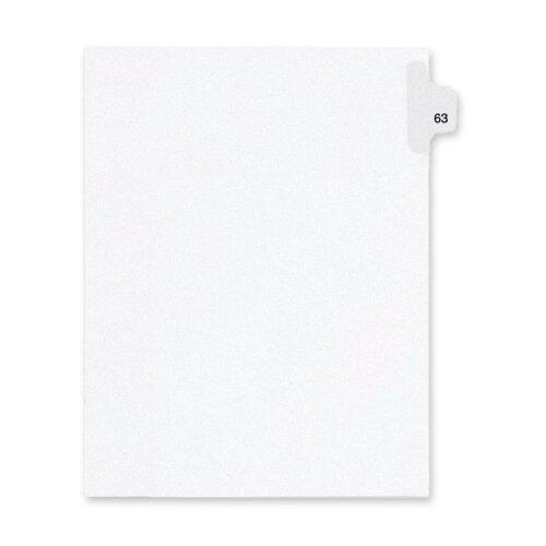 Kleer-Fax, Inc. Index Dividers,Number 63,Side Tab,1/25 Cut,Letter,25/PK,WE