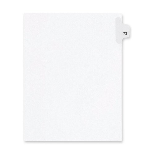 Kleer-Fax, Inc. Index Dividers,Number 73,Side Tab,1/25 Cut,Letter,25/PK,WE