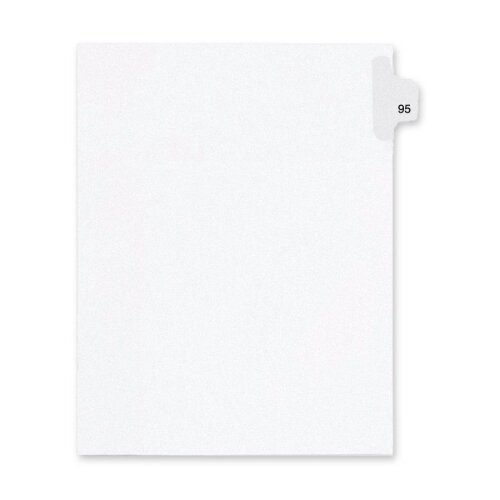 Kleer-Fax, Inc. Index Dividers,Number 95,Side Tab,1/25 Cut,Letter,25/PK,WE