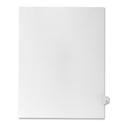 Kleer-Fax, Inc. Index Dividers,Letter W,1/26 Cut,Side Tabs,Letter,25/PK,WE
