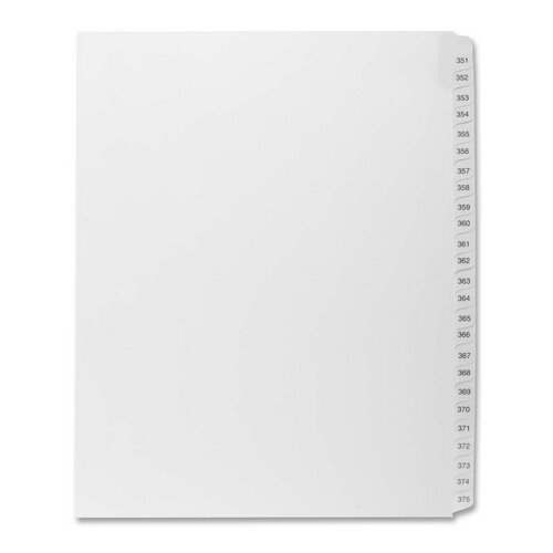 "Kleer-Fax, Inc. Index Dividers,""Exhibit 351-375"",Side Tabs,1/25 Cut,25/PK,WE"