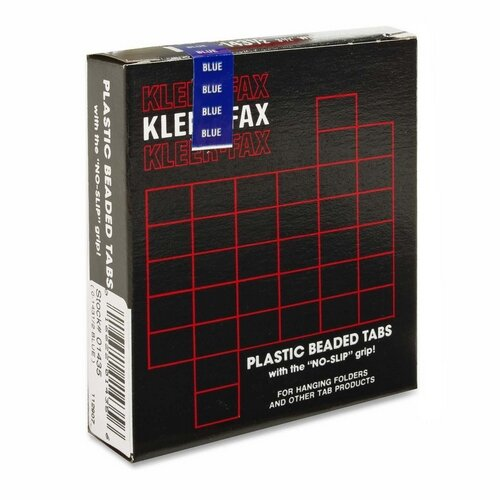 "Kleer-Fax, Inc. Hanging File Folder Tabs, 3-1/2"", 1/3 Cut, 25/PK, Blue"