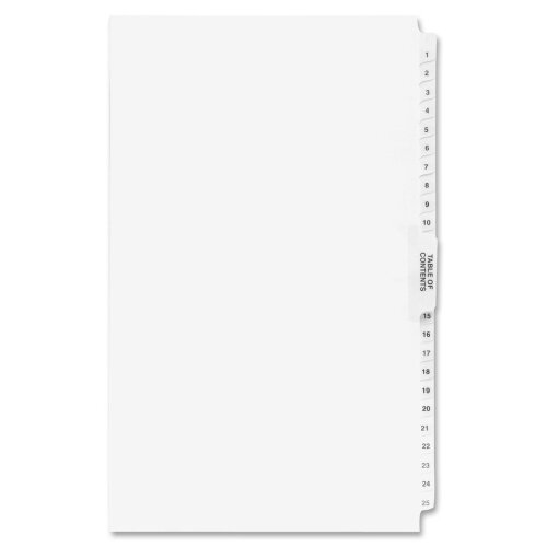 Kleer-Fax, Inc. 80000 Series Side Tab Legal Index Divider Set, Various Labels