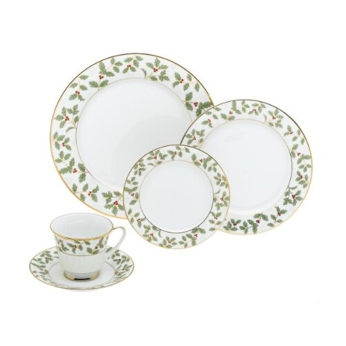 Holly and Berry Gold 40 Piece Dinnerware Set