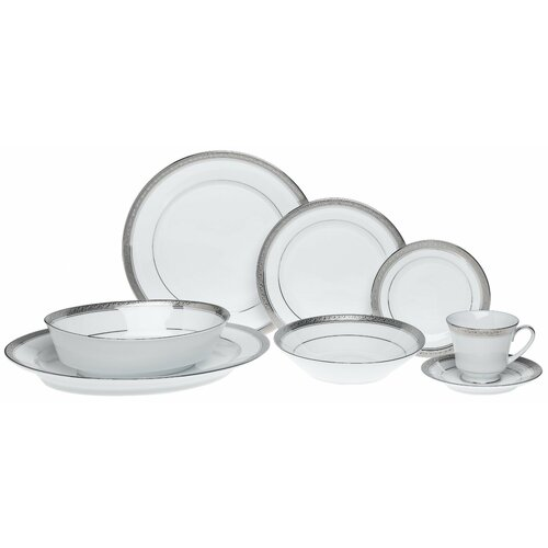Crestwood Platinum 50 Piece Dinnerware Set