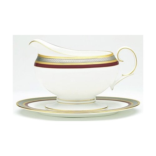 Noritake Ruby Coronet Gravy Boat with Tray