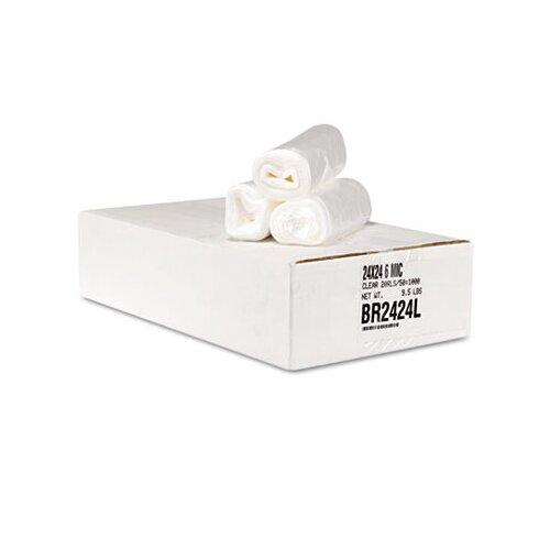 Essex® Can Liner Hi-D Rolls, 24 x 24, 20 Rolls, 1000/Carton, Clear