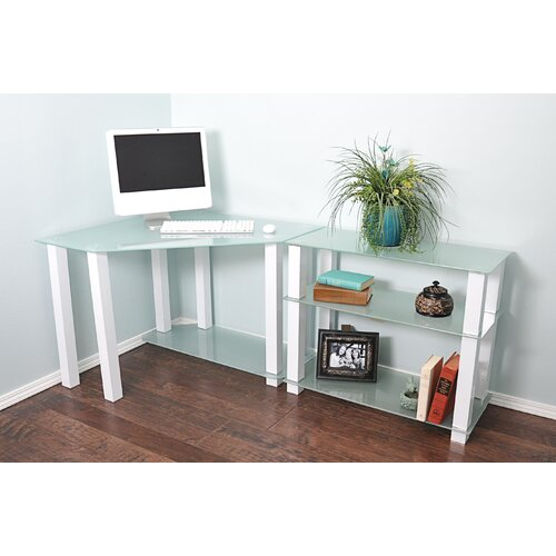 White lines corner computer desk with extension and 3 shelves wayfair supply - Corner desks with shelves ...