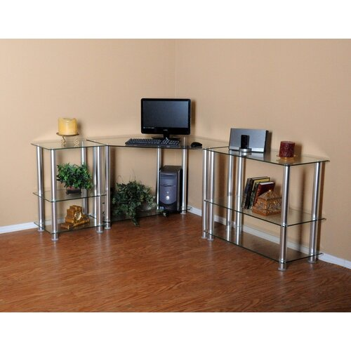 "RTA Home And Office Corner Computer Desk with 35"" and 20"" Modular Extensions"