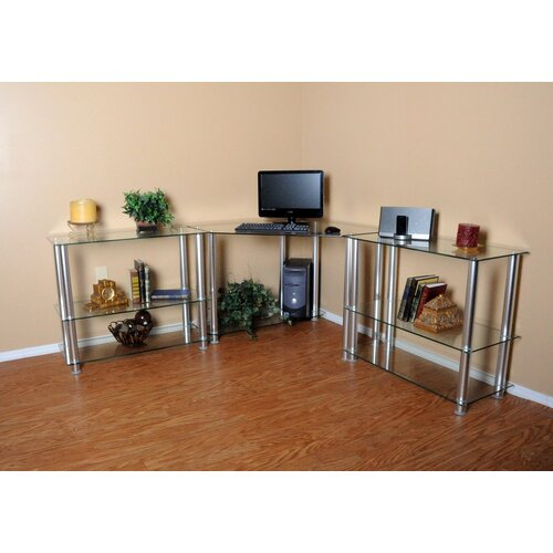 """RTA Home And Office Corner Computer Desk with 2 35"""" Modular Extensions"""