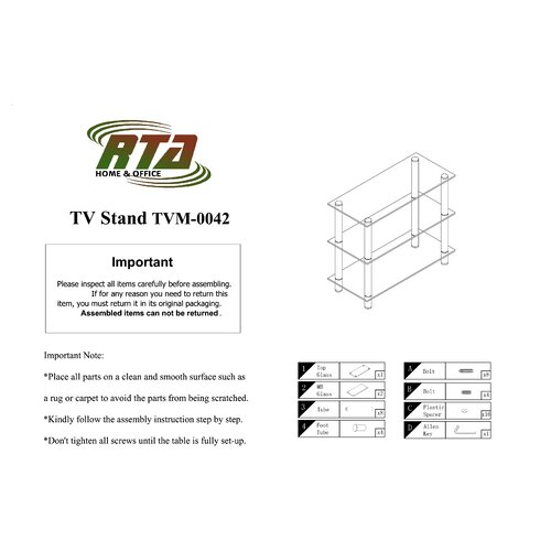 """RTA Home And Office Extra Tall Glass and Aluminum 42"""" TV Stand"""
