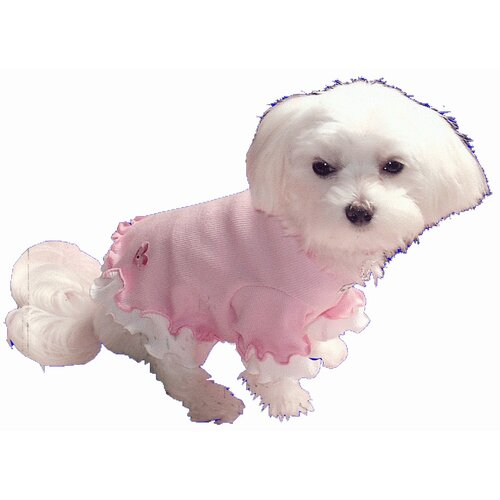 Heart Ruffle Dog Tee in Pink