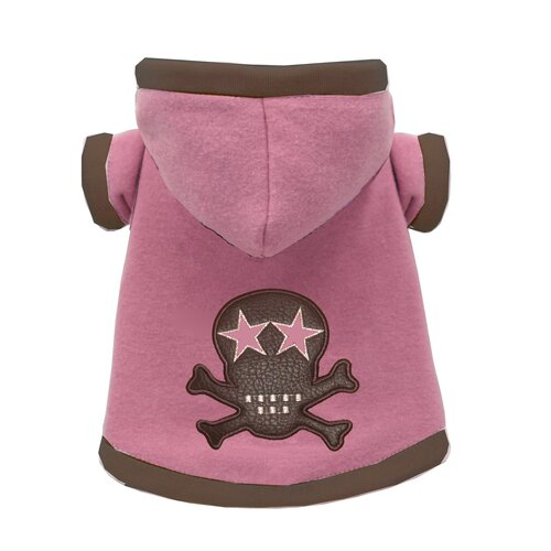 Super Soft Skull Dog Hoodie in Pink