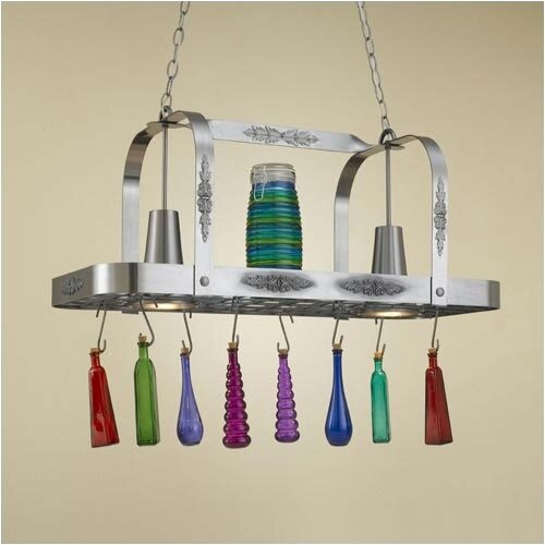 Hi-Lite Monterey Rectangular Pot Rack with 2 Lights