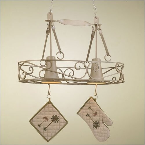 Hi-Lite Authentic Iron Oval Hanging Pot Rack with 2 Lights
