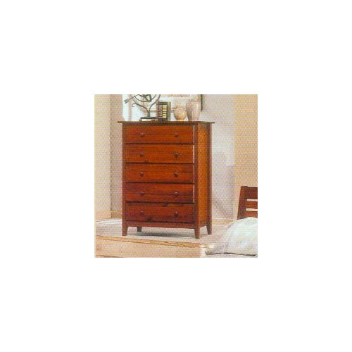 Alpine Furniture Portola 5 Drawer Tall Boy Chest