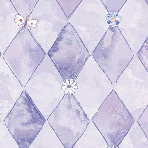 4 Walls Whimsical Children's Vol. 1 Groovy Flower Argyle Wallpaper