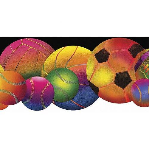 4 Walls Whimsical Children's Vol. 1 Neon Sports Balls Die-Cut Wallpaper Border