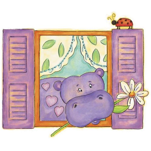 4 Walls Hippo Panel Wall Decal
