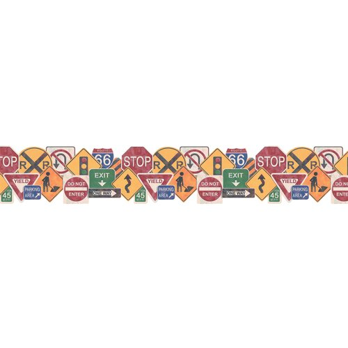 4 Walls Whimsical Children's Vol. 1 Road Sign Wallpaper Border
