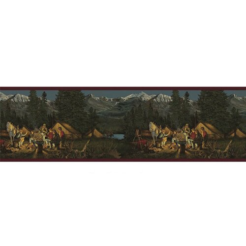 4 Walls Lodge Décor Campfire Border Wallpaper