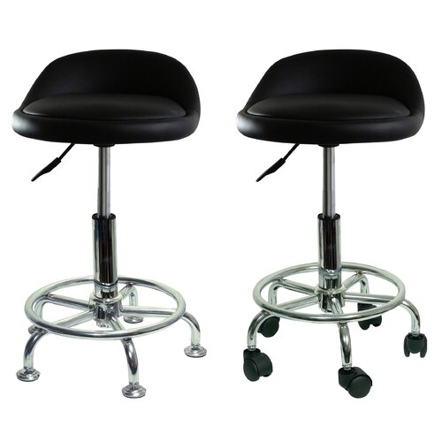 Buffalo Tools Height Adjustable Undersized Padded Stool with Low Profile and Casters