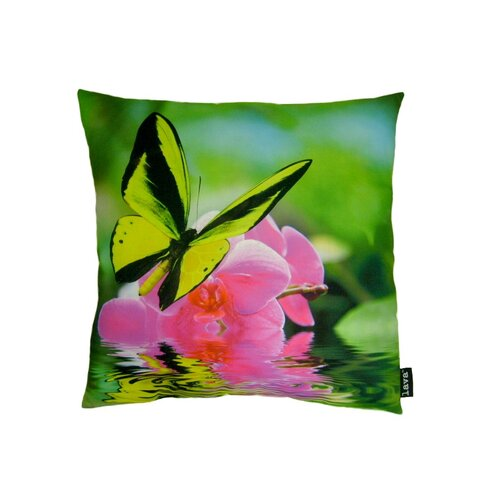 Butterfly on Orchid Polyester Pillow