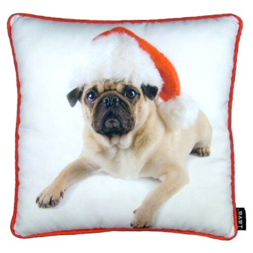 lava Holiday Pug with Hat Pillow