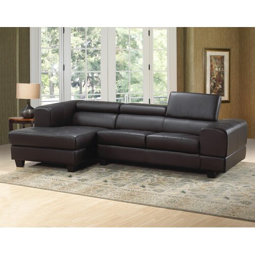 Hokku Designs Modern Leather Sectional