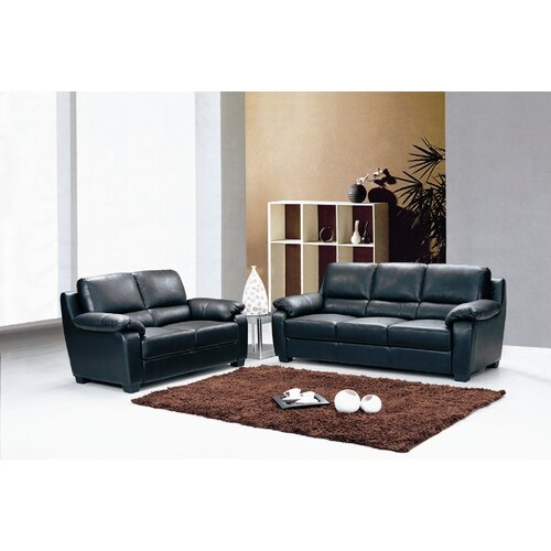 Hokku Designs Two Piece Top Grain Leather Sofa Set