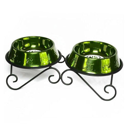 Platinum Pets Double Diner with 2 Dog Bowl Corona Lime