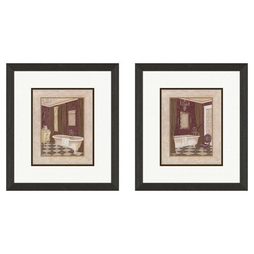 Pro Tour Memorabilia Bath Luxury 2 Piece Framed Painting Print Set